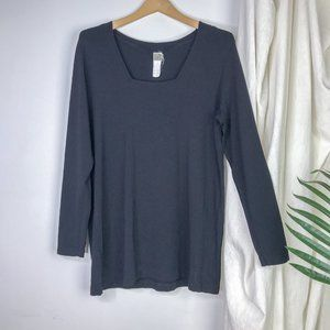 Lilith France Black Lagenlook Tunic Boxy Top Tee